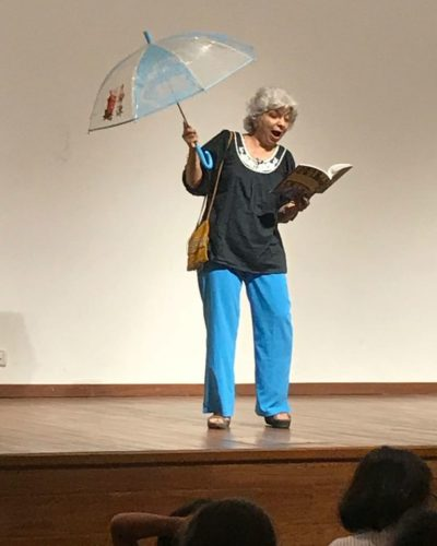 Reciting My Beautiful Blue Umbrella